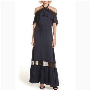 Alice & Olivia Navy Black Halter Maxi Dress Boho 4
